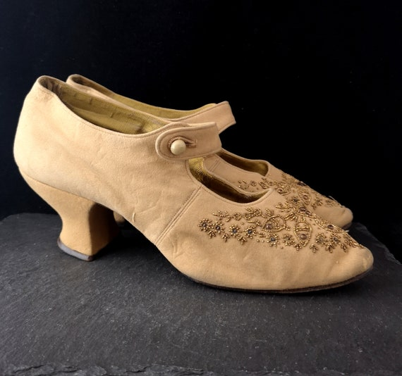 Antique ladies beaded shoes, Edwardian