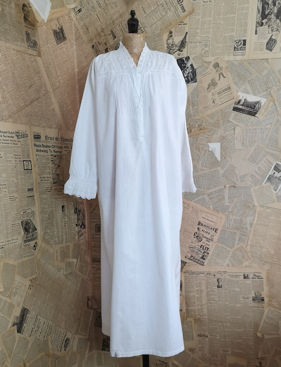Antique Edwardian nightgown, broderie anglaise