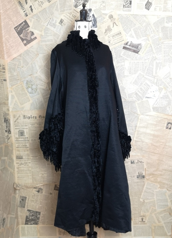Antique mourning coat, Victorian dolman sleeves