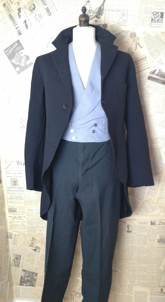 Vintage 30s mens suit, 3pcs, fishtail trousers, ta
