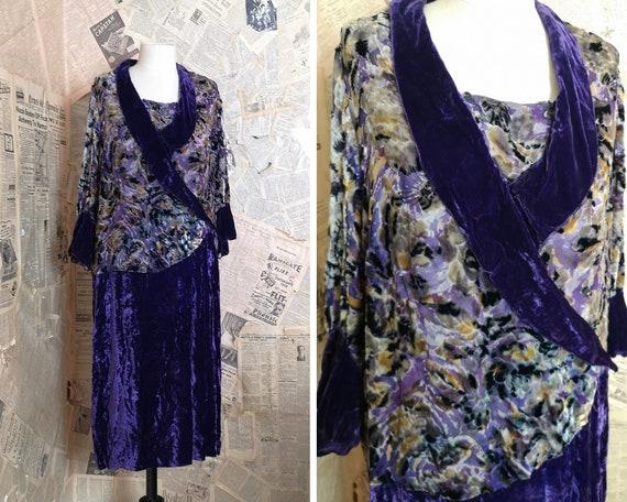 Vintage 1920's Velvet Devore dress, floral