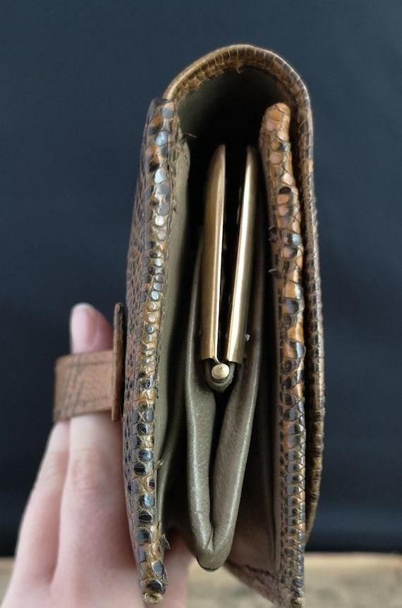 Vintage faux snakeskin clutch purse, 1940s - image 5