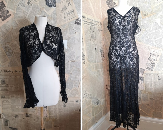 Vintage 1930's Black lace dress, lace bolero