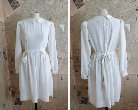 Vintage 1930s ivory silk tea dress