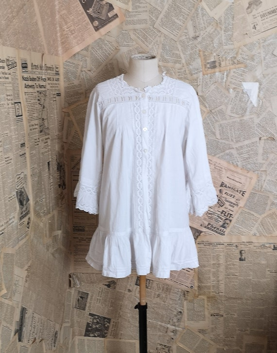 Antique cotton blouse, broderie anglaise