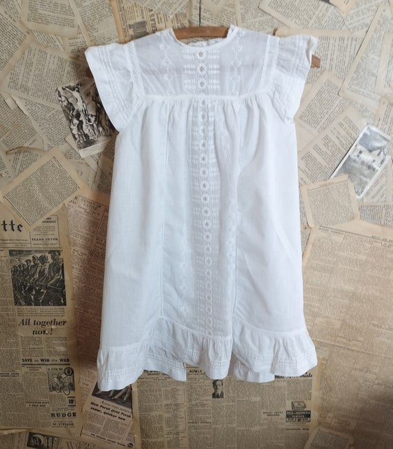 Antique Victorian childs cotton dress - image 1