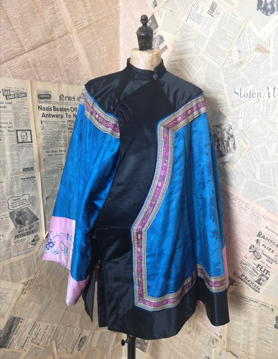 Vintage 20s Chinese silk jacket, padded, embroider