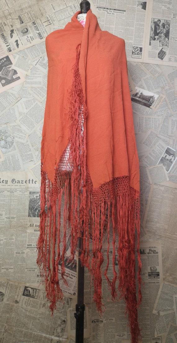 Vintage 30s French shawl, burnt orange crepe