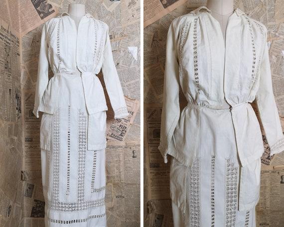 Antique Victorian day dress, two piece, crochet