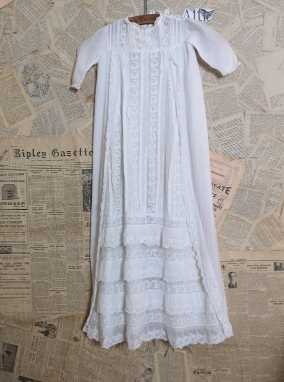 Antique cotton christening gown, broderie anglaise