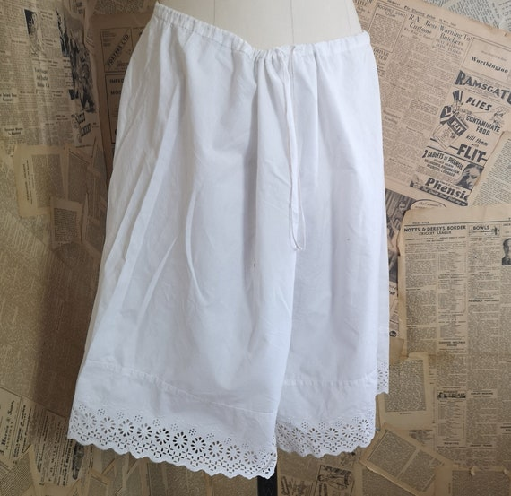 Antique Victorian cotton bloomers, knickers, brode