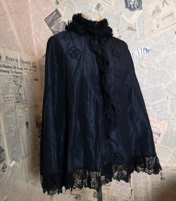 Victorian mourning cape, black taffeta and jet