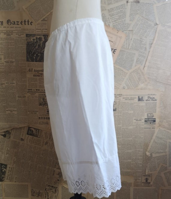 Antique Victorian cotton bloomers, knickers, brod… - image 2