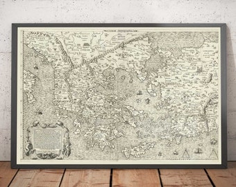 Old Map of Ancient Greece, 1558 by Salamanca - Macedonia, Balkans, Crete, Turkey, Asia Minor - Troy, Athens, Istanbul - Framed Unframed Gift