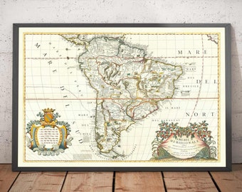 Old Map of South America by Coronelli 1690 - Brazil, Spanish Colonies, Peru, Paraguay, Venezuela, Magellanica, Amazon - Framed Unframed Gift