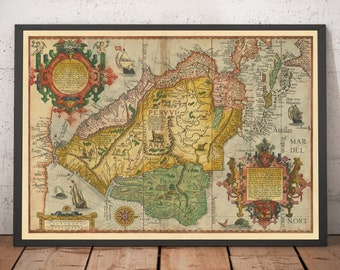 Old Map of South America by Linschoten, 1596 - Brazil, Peru, Chile, Caribbean, Florida, Spanish & Portuguese Colonies - Framed Unframed Gift