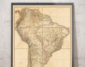 Rare Old Map of South America by Faden, 1807 - Spanish Colonialism - Brazil, Peru, Colombia, Chile, Venezuela, Amazon - Framed Unframed Gift