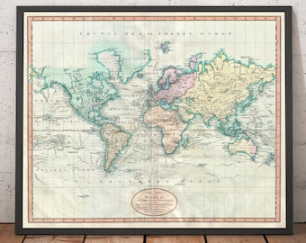 VINTAGE WORLD MAP Rustic Antique Version Size 24x36