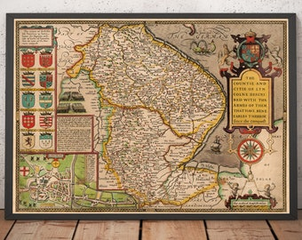Old Antique Collectable Tudor map of Surrey England John Speed 1600/'s Reprint