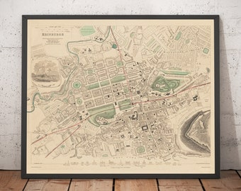 Vintage Map of Edinburgh From 1836 Photo Print Poster Gift Scotland