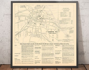Old Street Map of Santa Fe, New Mexico, 1925 - Rare City Chart of State Capital - Palace, Plaza, Capitol Building - Framed, Unframed Gift
