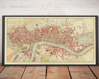 Rare Old Map of London by Hogg, 1784 - Westminster, City of London, Soho, Holborn, Covent Garden, Thames, Southwark - Framed, Unframed Gift