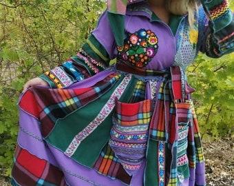 Purple love coat, treasure coat, katwise inspired, Team We ReCreate, one of a kind, boho, hippie, unique, designer coat
