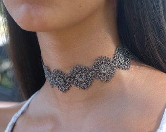 Grey lace choker | Etsy