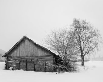 Old Barn, Norway - black and white photo landscape snow winter