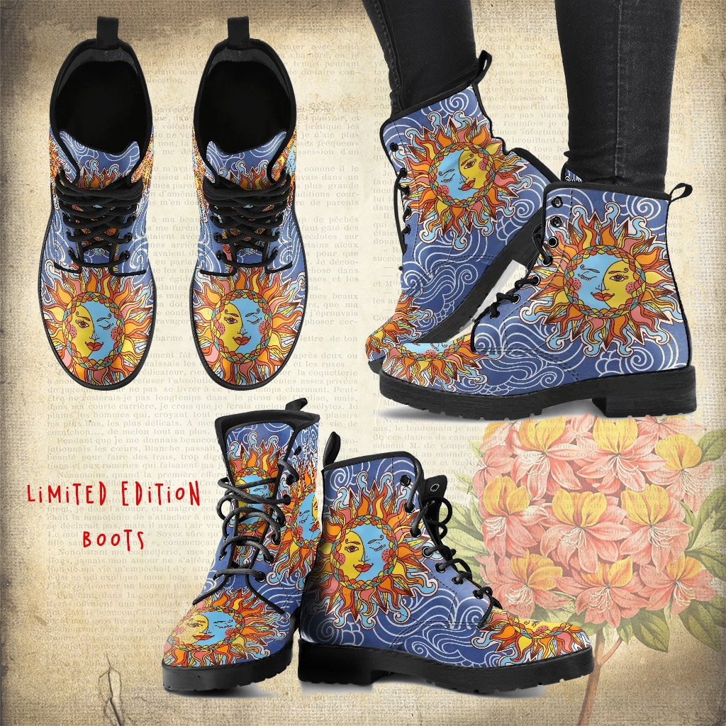 Sun Moon Handcrafted Boots 3 Sun And Moon Boots Dream Etsy