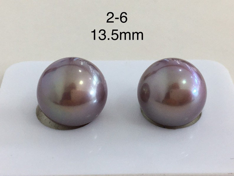 13-14mm large size natural deep purple color and metallic color round shape Edison loose pearl beads smooth flawless A pair 2pieces