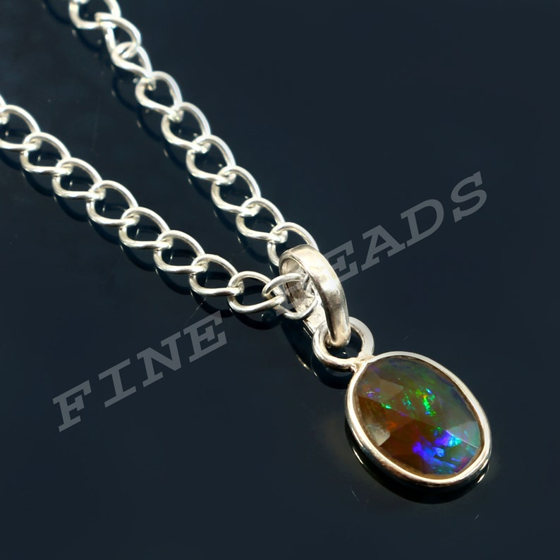 3.6 Cts AAA Natural Ethiopian Opal Pendant 925 Sterling Silver Sterling Silver Opal October Birthstone Gemstone Pendant Gift For Wedding