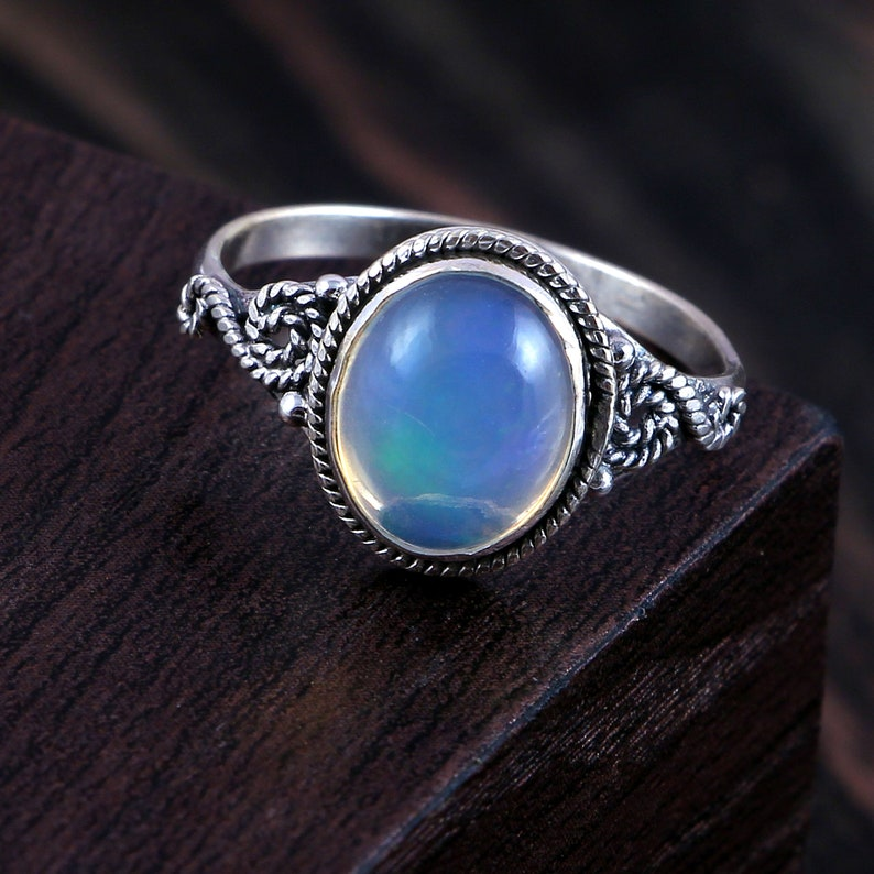 AAA 925 Sterling Silver Engagement Ring 100/%Natural Opal Stack for Women Opal Ring Stack Ring Vintage Opal Ring October Birthstone Gift Her