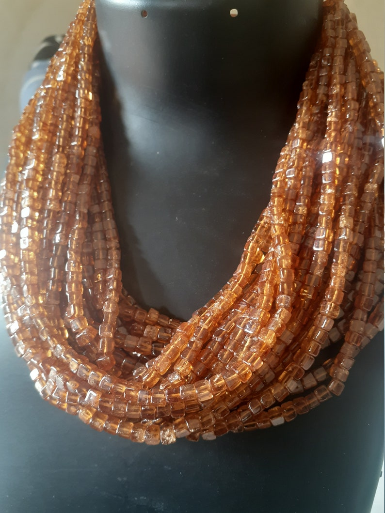 Use for Jewelry making Beaded 8 20cm Strand 4mm Natural Hessonite Garnet Plain Cubes