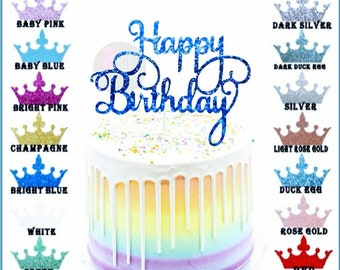 Happy Birthday Cake Toppers Glitter Card Bling Sparkle Decoration Party 6 Inches x 4.74 Inches Bright Blue