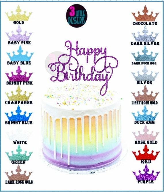 happy birthday party cake toppers glitter bling sparkle decoration  gold sliver