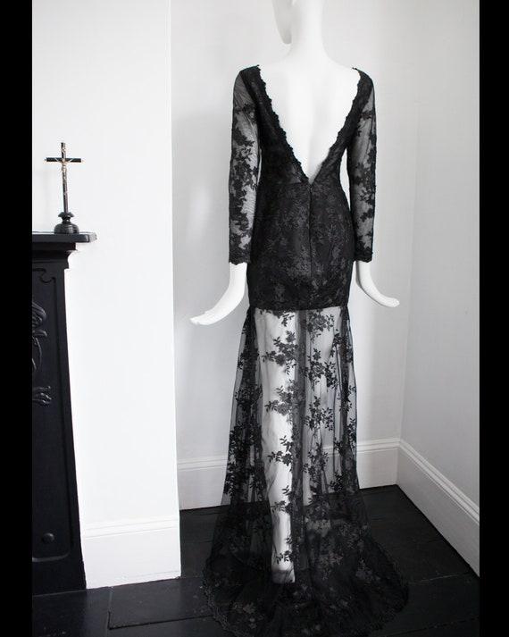Vintage black lace low back lace train sexy evenin