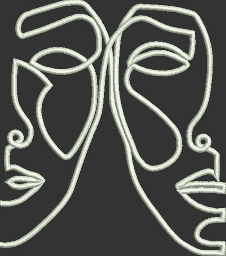 Applique Design for machine Embroidery Abstract One Line Faces Art embroidery Instant download Black White Art Easy to do Pattern
