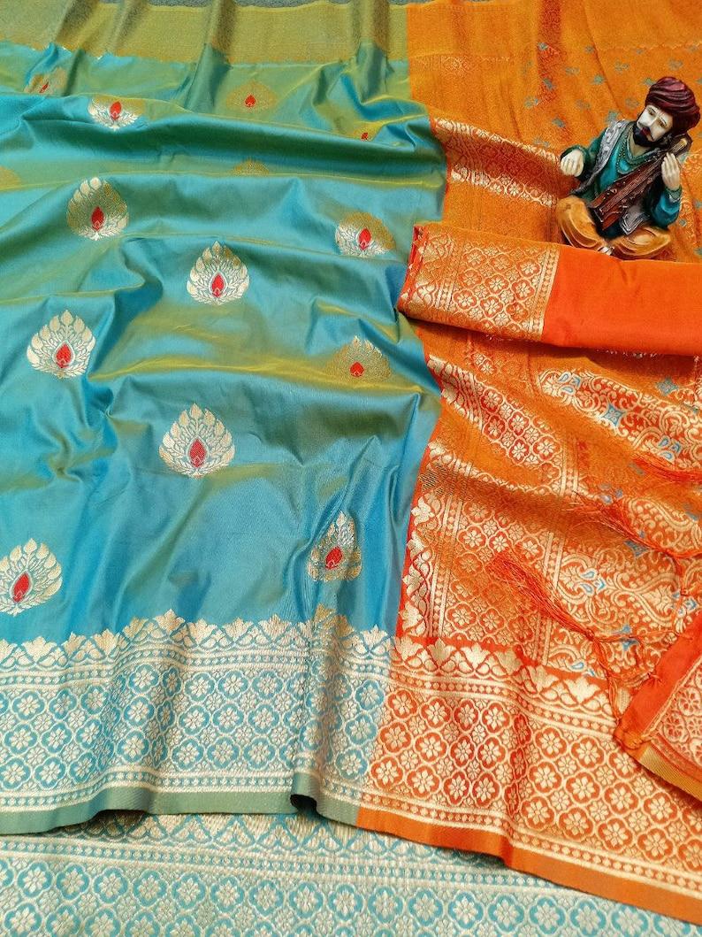 blue saree saree for women,indian saree,saree dress,wedding saree,designer saree Banarasi weaving lichi silk Saree and blouse for women