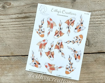 Koi fishing stickers | 500 | Travelers Notebook | Bulletjournal stickers | Planner stickers