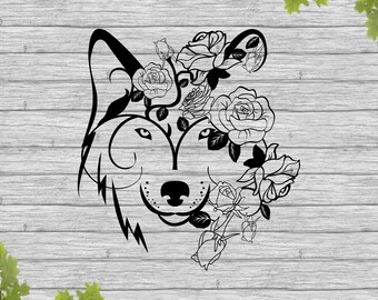 Wolf svg, Wolf face svg, Wolf head svg, Wolf, Wolf with flowers, dxf, Printable, Clipart, Silhouette