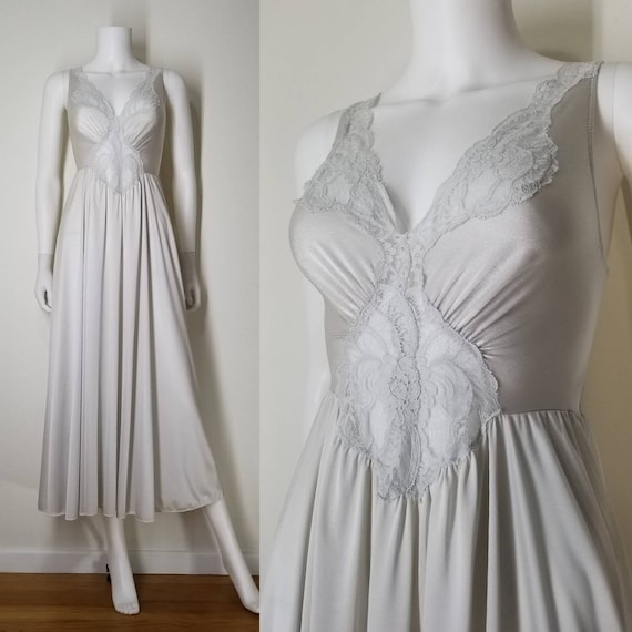 Vintage 80s Silver White Olga Nightgown Lingerie ~