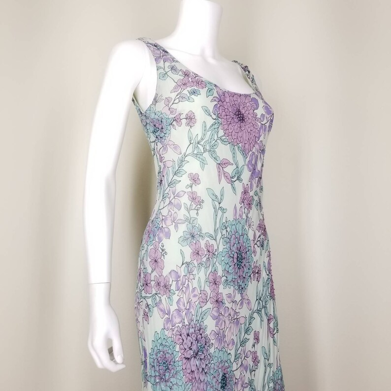 1990s Beaded Floral Sheath Dress Medium  Art Nouveau Lavender Mint Slip Dress  Long Flowered Mermaid Dress  Summer Maxi Cocktail Dress
