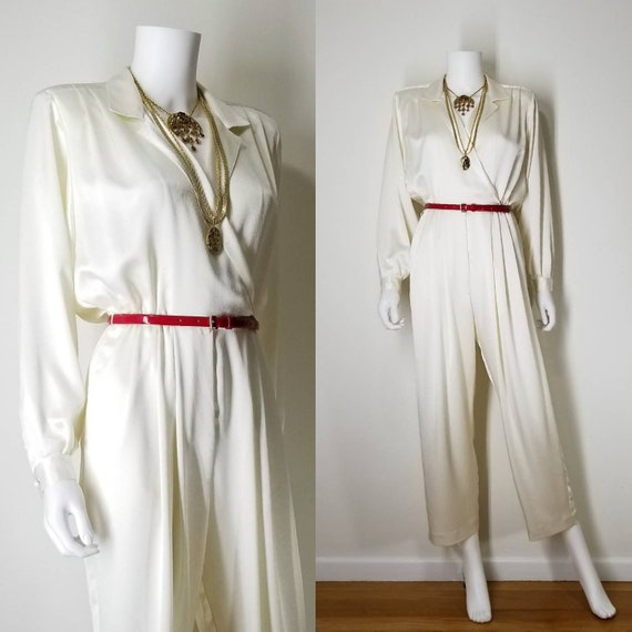 1990s Vintage Ivory Cocktail Jumpsuit Pantsuit ~ M