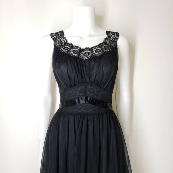 Vintage 60s Black Nightgown & Peignoir Lingerie S… - image 8
