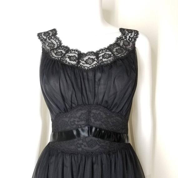 Vintage 60s Black Nightgown & Peignoir Lingerie S… - image 4