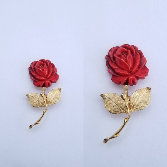 Vintage brooch lot Gold tone rose flower brooch Long stem Red rose Ladies lapel pin Gold tone costume jewelry craft lot gift for her