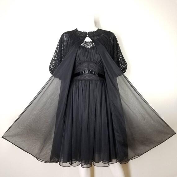 Vintage 60s Black Nightgown & Peignoir Lingerie S… - image 2
