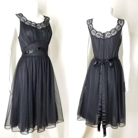 Vintage 60s Black Nightgown & Peignoir Lingerie S… - image 3