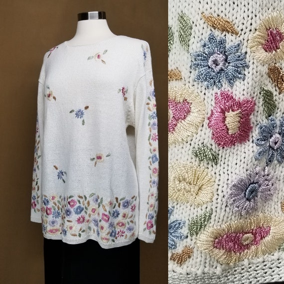 1990s Floral Embroidered Sweater, Large ~ Vintage